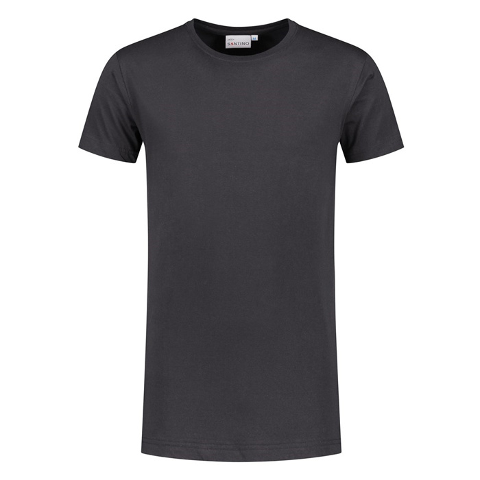 Santino T-shirt slim fit - extra lang, ronde hals Graphite
