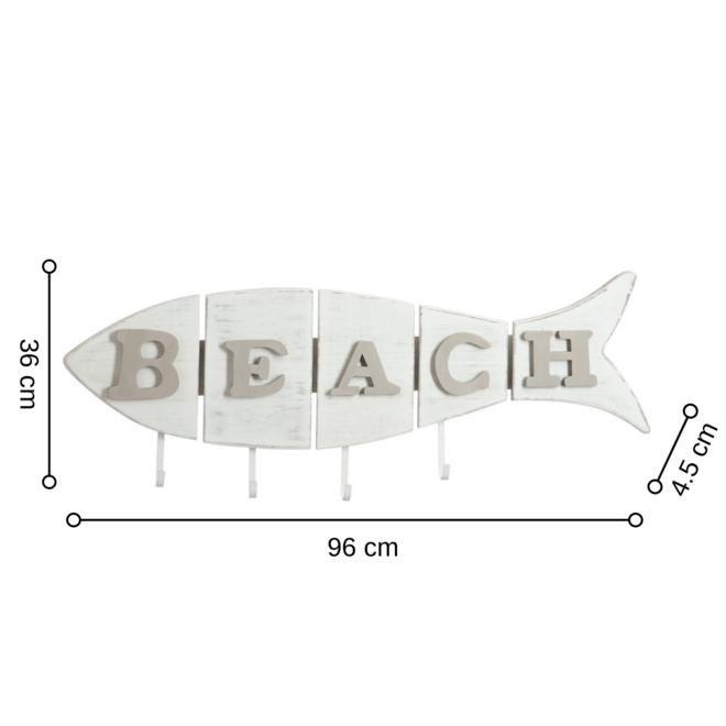 Wandkapstok Strand 'Beach' Vis Hout Wit 36x96 cm