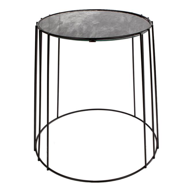 Moderne Kleine Bijzettafel Zwart Metaal Glas Ø 30 cm