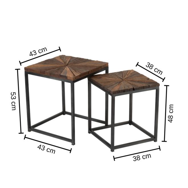 Bijzettafel Hout Metaal Vierkant 2 st. 43x43
