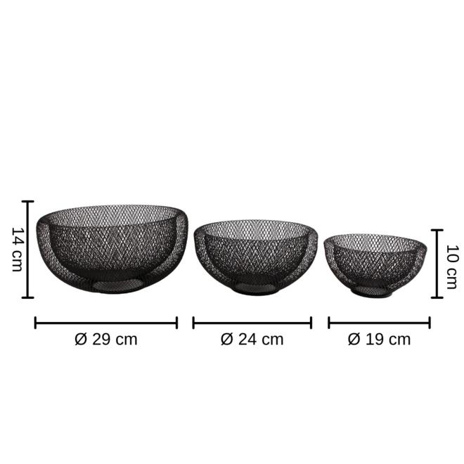Schaal draadmetaal Zwart Rond 3 st. Ø 29 cm