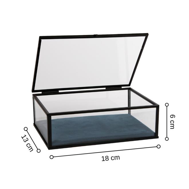 Glazen Sieradendoos Zwart Metaal 18x13