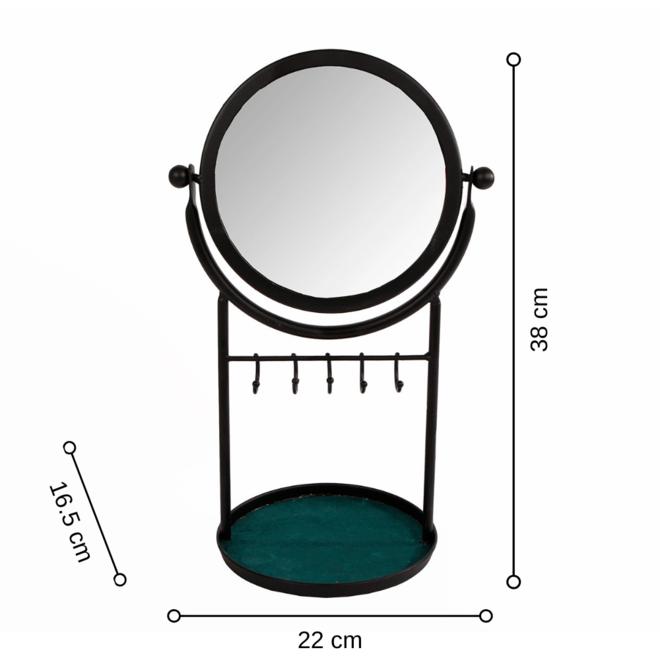 Make Up Spiegel Zwart Metaal - incl. haakjes