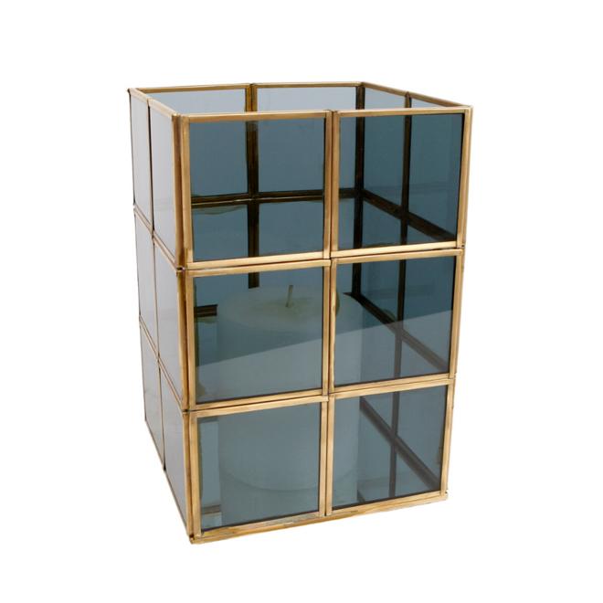 Windlicht Vierkant Goud Glas 22.5 cm