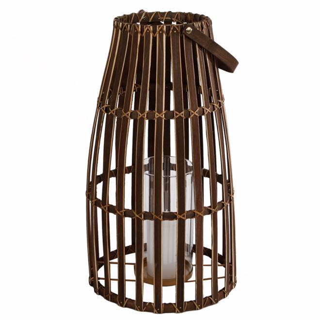 Lantaarn Bamboe Groot Hout Bruin 46 cm