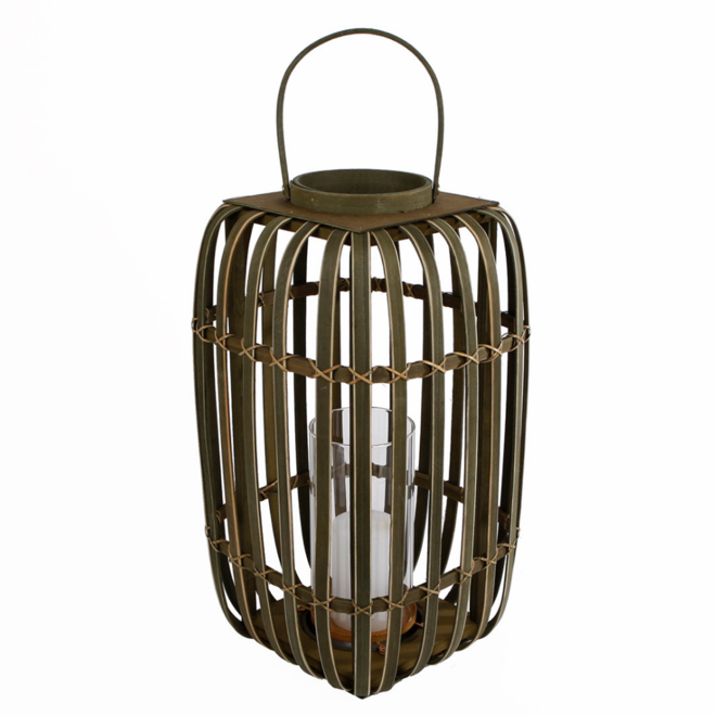 Rieten Windlicht/Lantaarn Groot Vierkant 47 cm