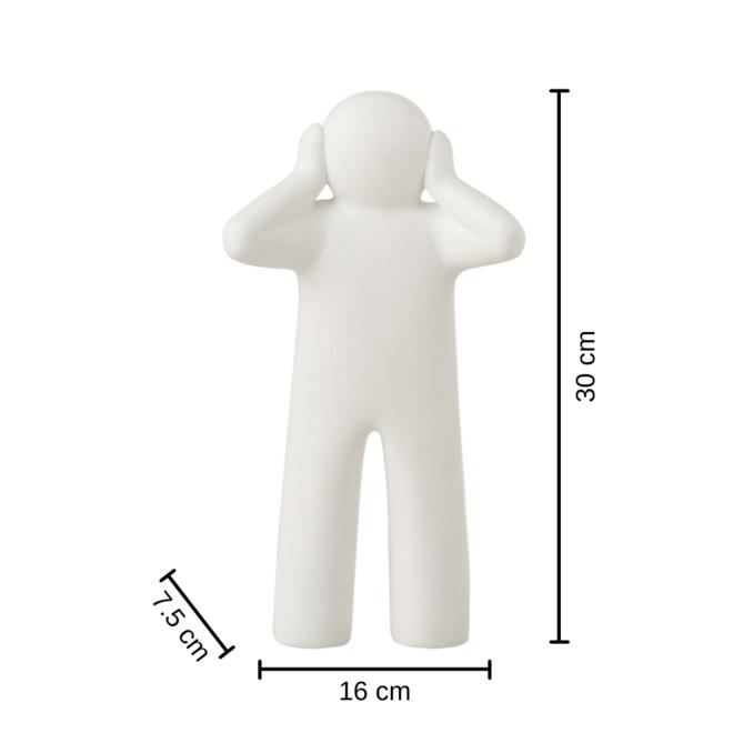 Beeld Horen, Zien en Zwijgen Wit 3 st. - 30 cm