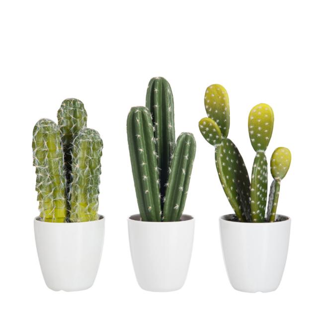 Kunst Cactus Klein 3 st. 26 cm