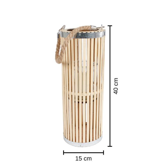 Lantaarn Groot Rond Hout 40 cm