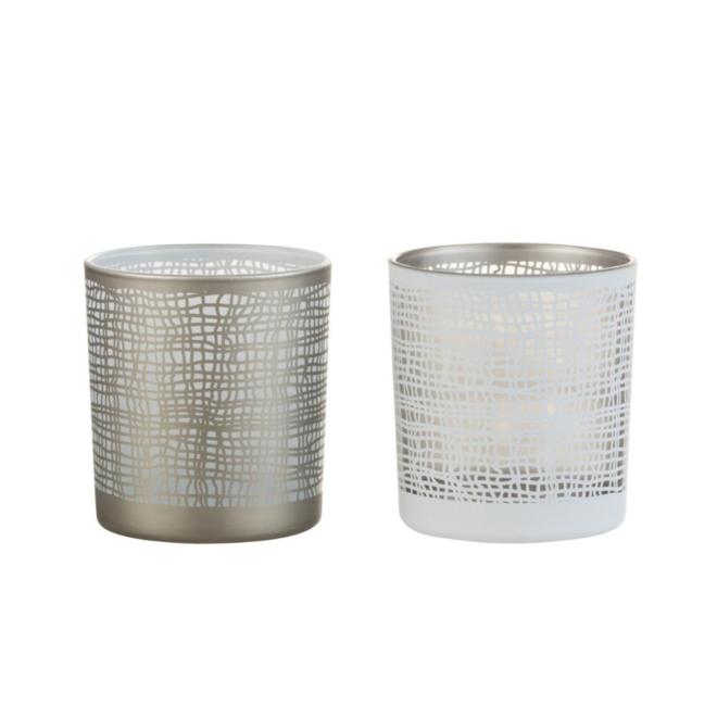 Waxinelichthouder Glas Wit/Grijs 2 st. - 8 cm
