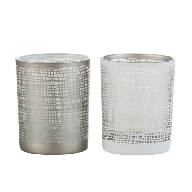 Waxinelichthouder Glas Wit/Grijs 2 st. - 12.5 cm