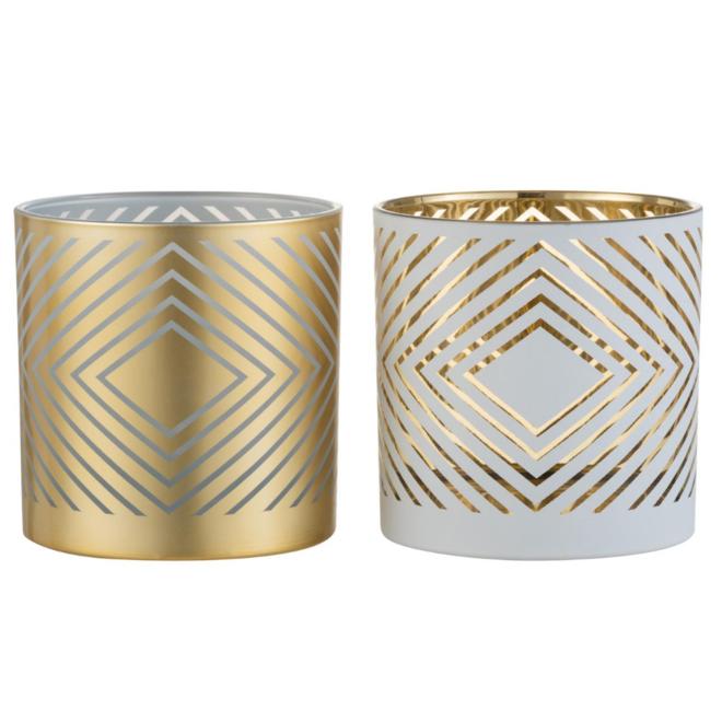 Windlicht Modern Glas Wit/Goud 2 st. - Ø 15 cm