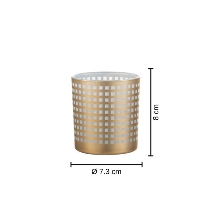 Theelichthouder Modern Glas Wit/Beige 2 st. - 8 cm