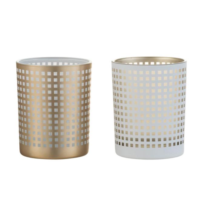Theelichthouder Modern Glas Wit/Beige 2 st. - 12.5 cm