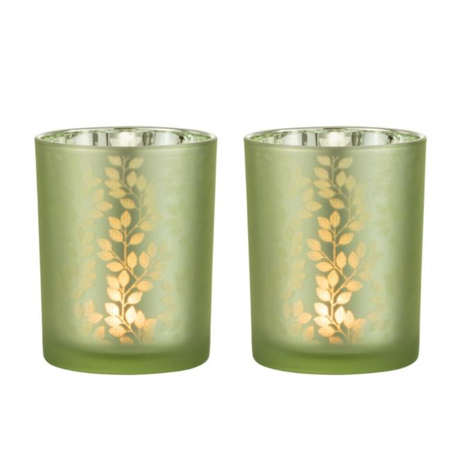 Waxinelichthouder Glas Groen 2 st. - 12.5 cm