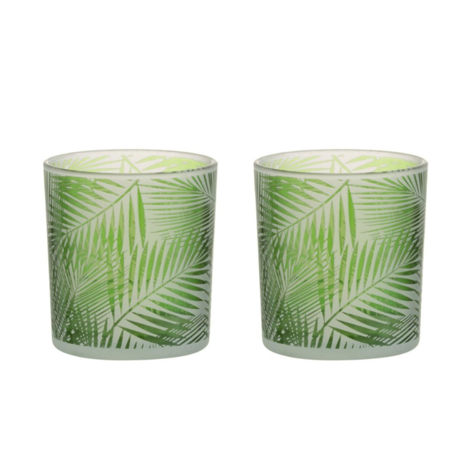Waxinelichthouder Groen Glas Tropische Bladeren 2 st. - 8 cm