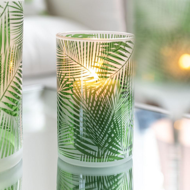 Waxinelichthouder Groen Glas Tropische Bladeren 2 st. - 12.5 cm