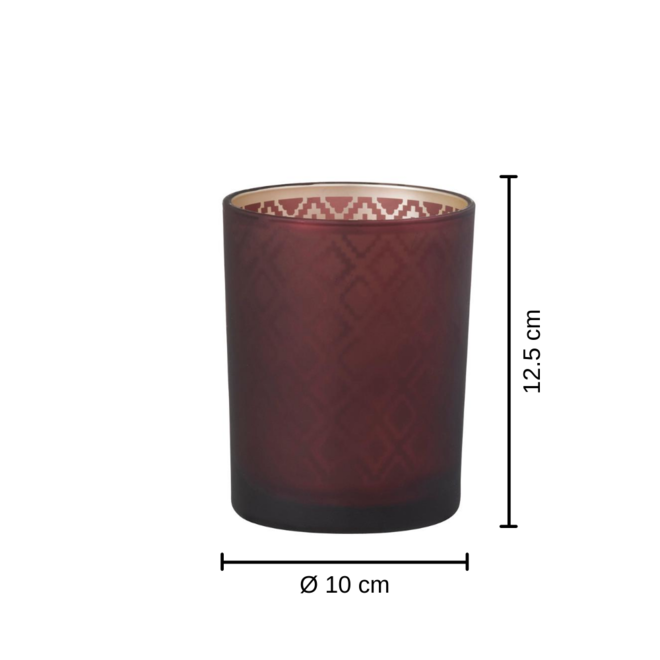 Waxinelichthouder Bordeaux Rood Oosters 2 st. - 12.5 cm