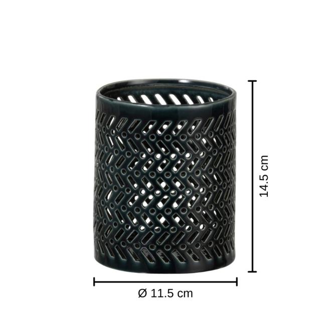 Windlicht Zwart Wit Porselein 2 st. - 14.5 cm