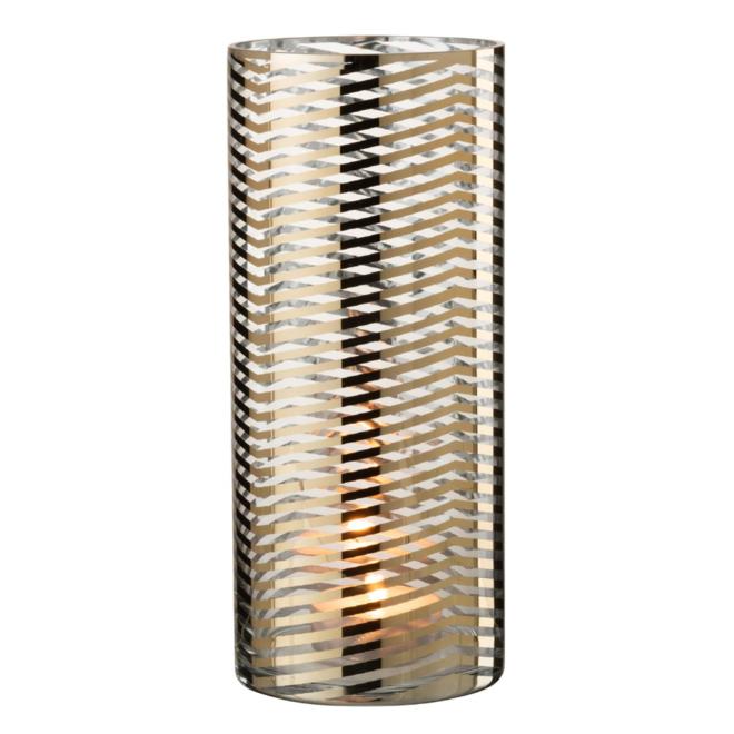 Windlicht Modern Goud Glas Gestreept 28 cm