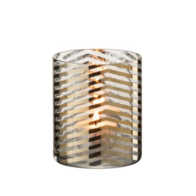 Windlicht Modern Goud Glas Gestreept 10 cm