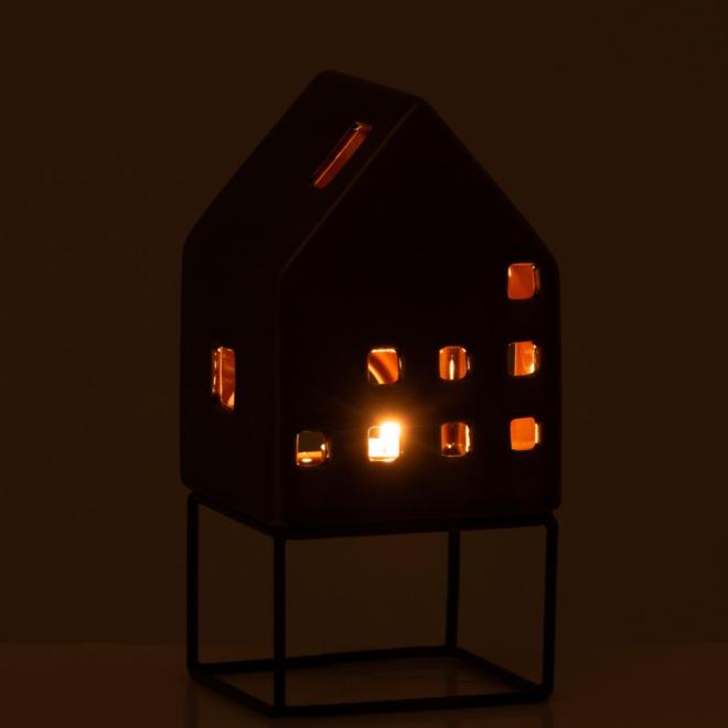 Waxinelichthouder Huis Metaal/Porselein Bruin 20 cm