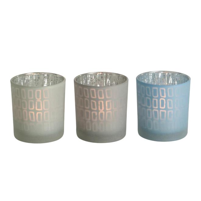 Theelichthouder Blauw/Wit Glas 3 st. - 8 cm