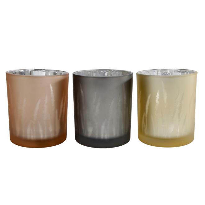 Waxinelichthouder Glas Bruin, Zwart En Beige 3 st. - 10 cm