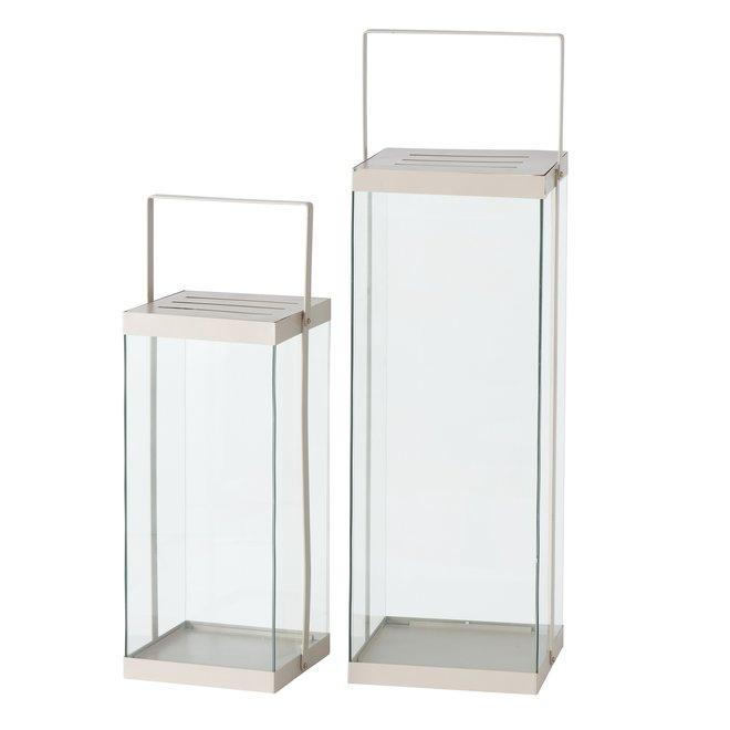 Lantaarn Modern Beige Groot Metaal/Glas 2 st. - 72 cm