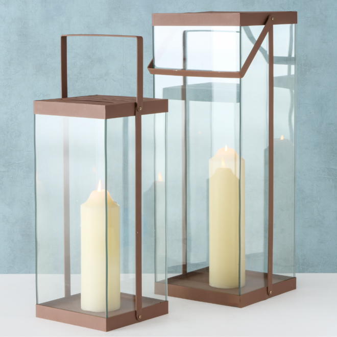 Lantaarn Modern Roze Groot Metaal/Glas 2 st. - 72 cm