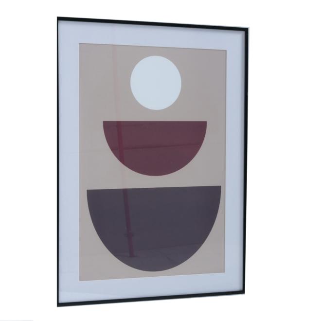 Modern Schilderij Wit/Beige/Rood Cirkels 2 st. - 50x70 cm