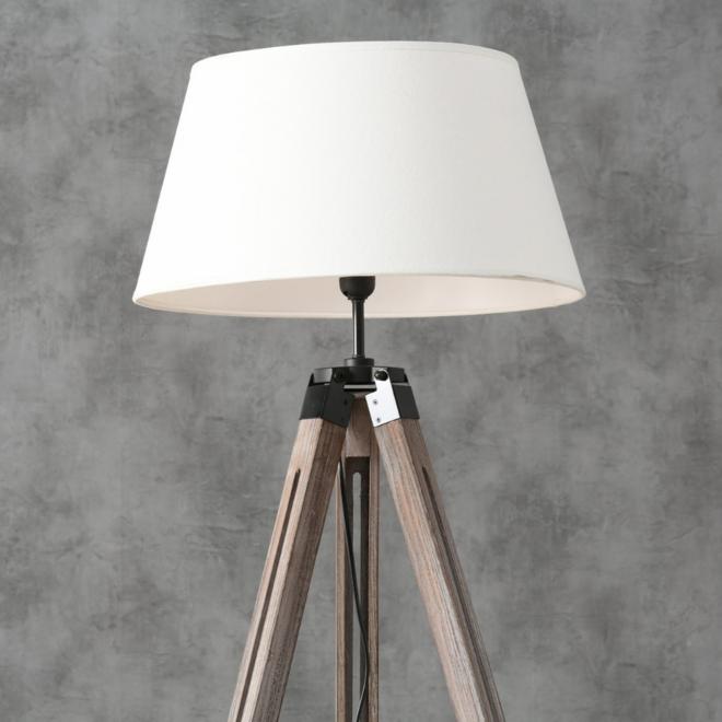 Vloerlamp Driepoot Hout - incl. lampenkap