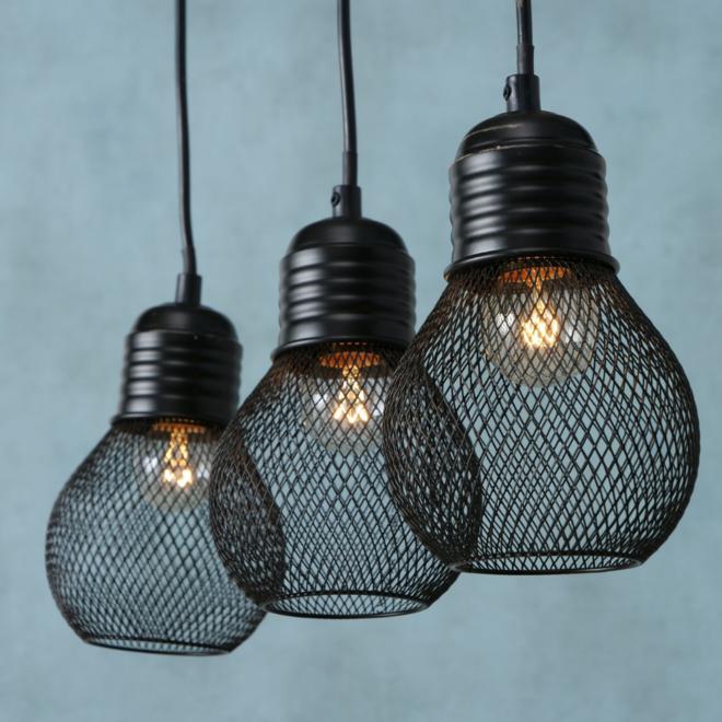 Hanglamp 3 Lampen Zwart Industrieel Eettafel