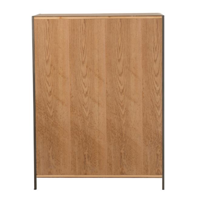 Wandkast Modern Hout/Metaal Bruin Laag - 120.5 cm