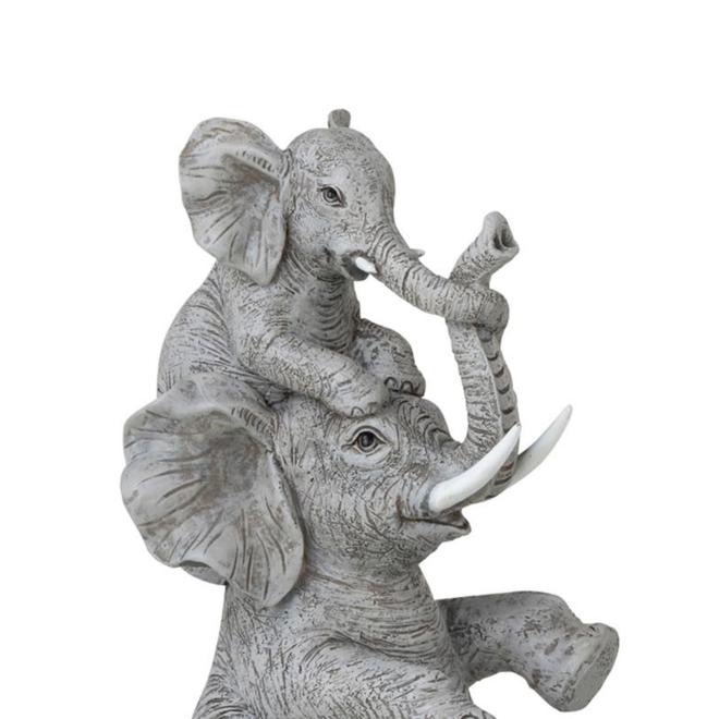 Beeld Olifant Met Kind Grijs 23.5 cm