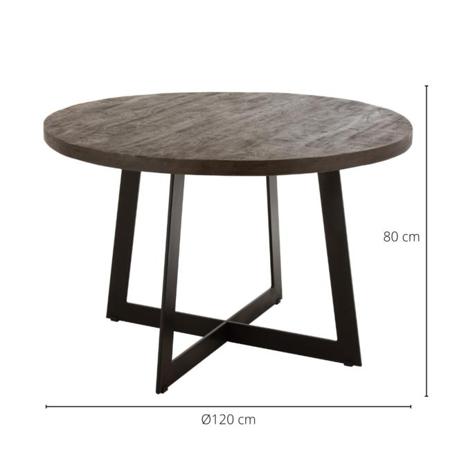 Eettafel Rond Hout Metaal Modern Bruin  Ø 120 cm