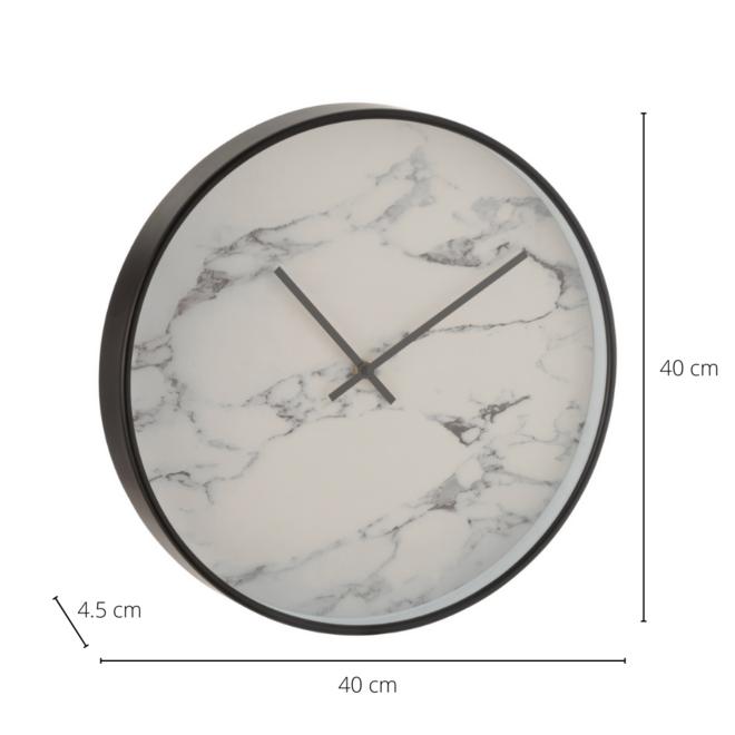Wandklok Modern Marmer Zwart Wit Ø 40 cm - incl. batterij
