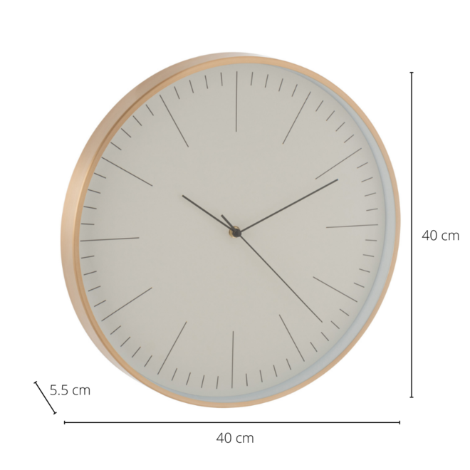 Wandklok Modern Metaal Goud Ø 40 cm - incl. batterij