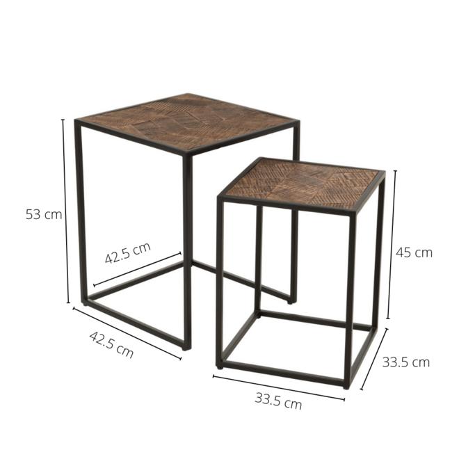 Bijzettafel Metaal Hout Bruin 2 st. 42.5x42.5 cm