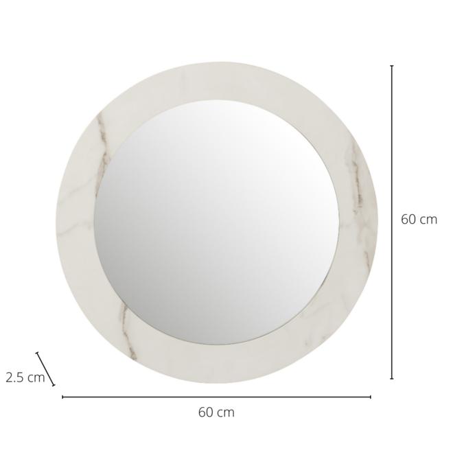 Wandspiegel Marmer Look Wit Rond Hout Ø 60 cm