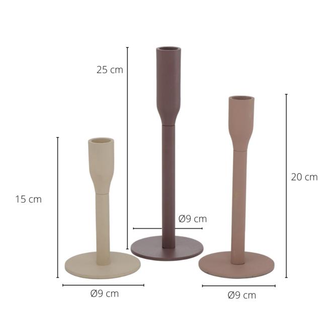 Kandelaar Modern Metaal 3 st. - 25 cm