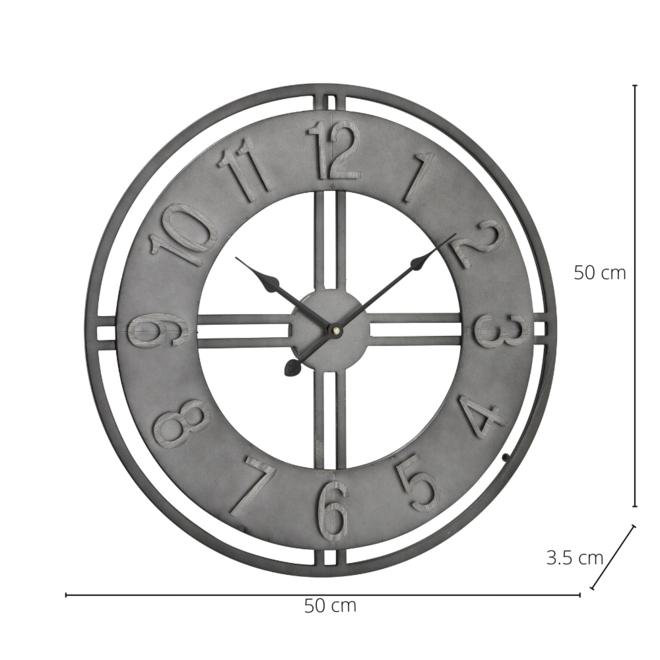 Wandklok Metaal Grijs Industrieel Ø 50 cm - incl. batterij