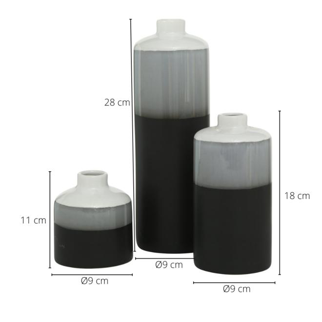 Vaas Modern Wit/Zwart Porselein 3 st. - 28 cm