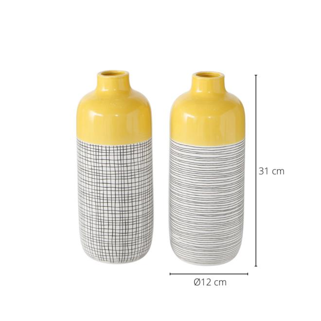 Vaas Geel/Zwart Modern 2 st. - 31 cm