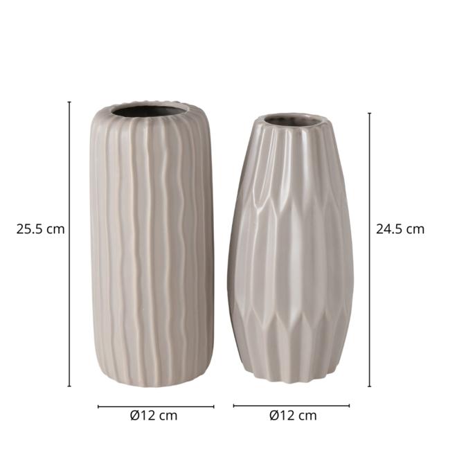 Vaas Modern Keramiek Beige 2 st. - 25.5 cm