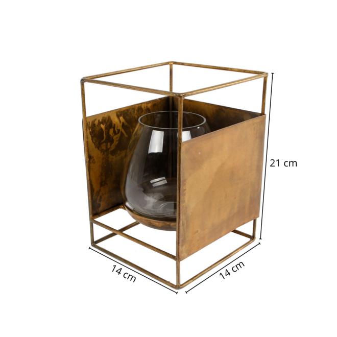 Windlicht Metaal Goud Vierkant 21 cm
