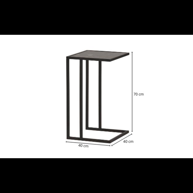 Bank Bijzettafel Marmer Glas Metaal Zwart Modern 40x40 cm