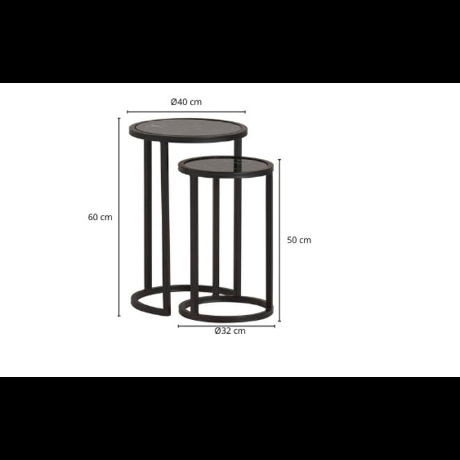 Bijzettafel Rond Marmer Glas Metaal Zwart 2st. Ø 40 cm
