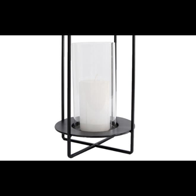 Windlicht Modern Zwart Metaal 29 cm