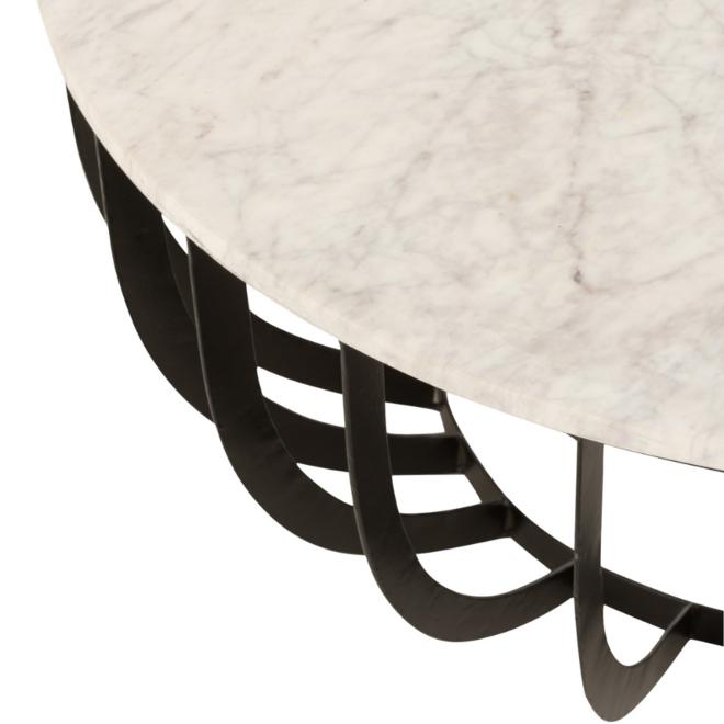 Salontafel Rond Marmer Metaal Modern Wit Ø 90.5 cm